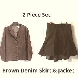 Gold Flava 2 Piece Denim Suit Skirt Jacket Blazer